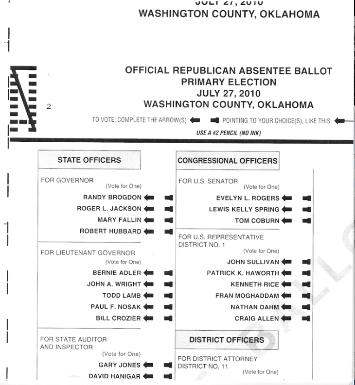 Sample Ballot for Washington County and My Personal Picks for GOP ...