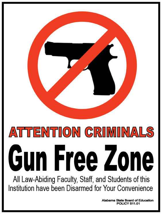 Gun Free Zone Signs for Un-Armed Homes and Businesses to Post  (2/2)