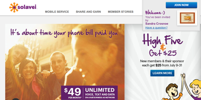 solavei home page with sc link