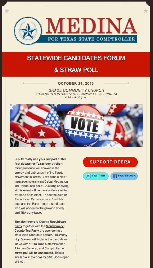 Straw Poll Texas Event Oct 24th