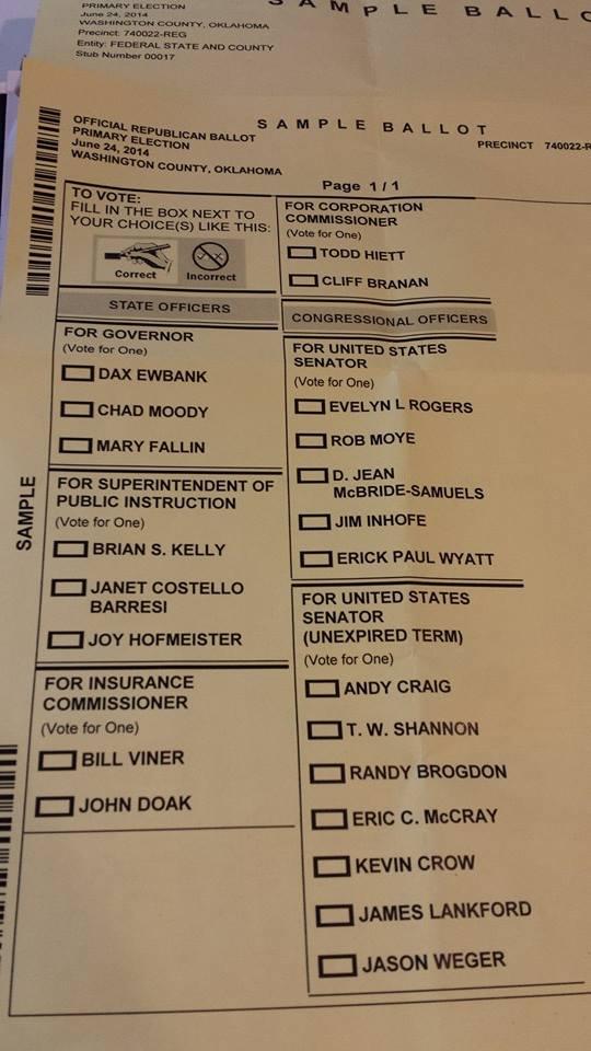 Sample Ballot for Washington County Republican Primary ...