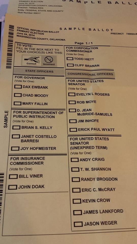 Sample Ballot for District 10 June 24th