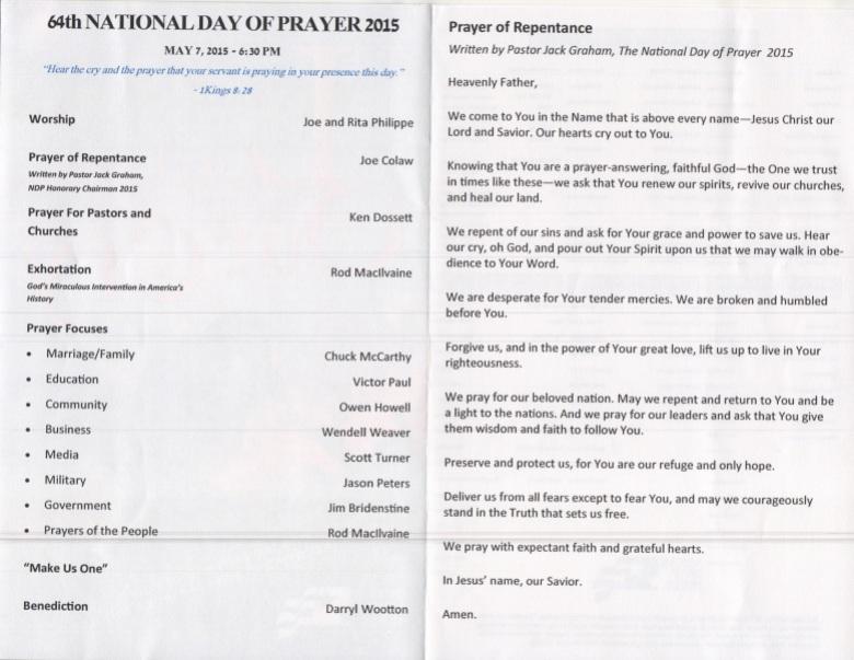 National Day of Prayer 2015 inside