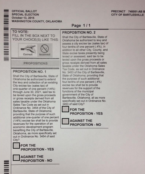 City of Bartlesville Sample Ballot - Oct 13th