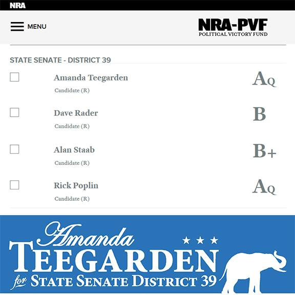 Amanda Teegarden and NRA ratings