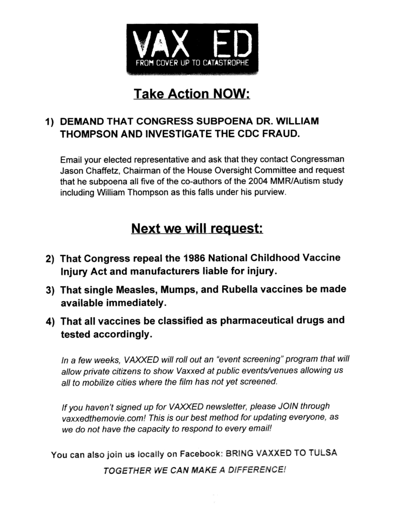 Document-Vaxxed from Cover-up to Catastrophe Sat Jun 04 2016 OK4VaxChoice